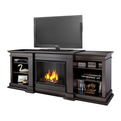 Real Flame G1200-DW Fresno Dark Walnut Ventless Gel Fireplace - Real Flame Fresno Gel Fireplace Dark Walnut - G1200-DWProduct Features Enjoy the crackle and ambiance of a Real Flame fireplace, this substantial freestanding fireplace also doubles as an entertainment center. Dark Walnut finish. This unit is able to hold a television of 100 lbs or less and has adjustable shelving, to accommodate most electronics. Uses up to 3 cans of Real Flame 13oz gel fuel. Assembly required. Real Flame Gel Fuel sold separately. Ships UPS Ground to the Continental US only.Product Specifications:  * Dimensions: 72 L x 19 W x 29 H (inches) * Finish: Dark Walnut Finish * Weight: 170 lbs. * Ventless * Portable - No Installation Required * Emits up to 9,000 BTU's of Heat Per Hour * Complete Mantle with log and screen kitAssembly Instructions(Click to View)Real Flame Electric & Gel FireplacesAbout Real Flame For nearly 30 years Real Flame has been the leader in the production and sale of gel-fueled fireplaces and accessories. All of Real Flame products are manufactured to the highest standards and, of course, safety is the top priority in all of the designs.Real Flame Gel Fuel is an exclusive premium alcohol based blend that requires no ventilation when burned. No chimney, no gas hookups and no electricity needed. Makes an ideal addition to any room in all types of homes adding the warmth and ambience of a real fire without the hassle and expense of costly installations.Tested and approved for indoor and outdoor use, Real Flame Gel Fuel meets all clean air requirements established by both OHSA and the EPA.Join the thousands of satisfied customers across the country and begin your own memories from evenings around the fire today.
