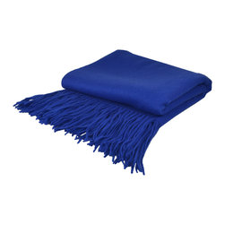 "Pur by Pur Cashmere - Signature Blend Throw Cobalt 50""x65"" With 6"" Fringe - Signature cashmere blend throw 10% cashmere / 80% wool / 10% microfine Dry clean only. Inner mongolia."
