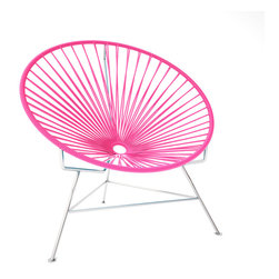 Innit Chair, Chrome Frame With Pink Weave - This iconic chair is perfect for outdoor living, as the woven vinyl is weather poof and easy to clean. But add it to a living room scheme and it brings the perfect pop of personality. You can order from a rainbow of colors to contrast the chrome base or stick with the classic black vinyl for a modern look.