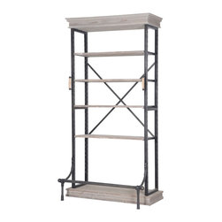 Four Hands - Braxton Single Bookcase - Balancing dramatic scale with flea marketing-find design, the Irondale Collection offers storage solutions embellished with iron and brass details that resemble libraries of the 1940's and provide smart and stylish organization for any room. This item comes standard with free in-home delivery.