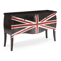 ZUO - Union Jack Cabinet - Large - Graceful vintage lines emblazoned with the Union Jack add flair to any space. Carved from solid elm with antiqued metal handles, the Union Jack Cabinets come in small or large. Anglophiles, rejoice.