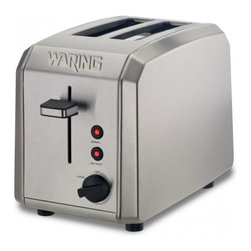"Waring Pro 2 Slice Toaster - This classic brushed stainless steel toaster features two wide 1.3-"" toasting slots  an easy-to-clean slide-out crumb tray  plus Defrost and Bagel settings for perfect results every time.Product Features                          Brushed stainless steel housing            1000 watts of power            Two 1.3-"" wide toasting slots            Adjustable Shade control and Cancel knob            Defrost and Bagel settings with LED indicators            High-lift carriage feature            Self-centering toasting slots            Slide-out crumb tray            Limited One Year Product Warranty"