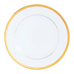 Robert Haviland/C. Parlon - Arc En Ciel Malmaison Gold Presentation Plate - The Arc en Ciel pattern combines the classic gold rim with colors inspired by the famous Monet residence. It works as a beautiful complement to other patterns or can be used on its own for a simple, bold look.
