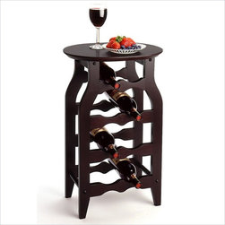 Winsome - Winsome 8-Bottle Oval Top Wine Rack in Dark Espresso - Winsome - Wine Racks - 92825 - A more stylish and expressive take on the wine rack the espresso oval wine rack features a flare-turned leg and rack assembly beneath an overhanging oval table top to make a snazzy statement. Capable of safely retaining 8 bottles this rack has a nice measure of both character and function.