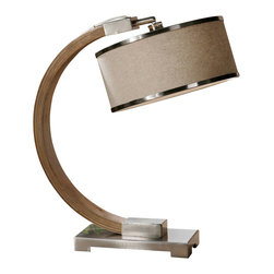 Uttermost - Uttermost Metauro Wood Desk Lamp - Metauro Wood Desk Lamp by Uttermost Lightly Stained Wood Base Accented With Polished Chrome Plated Details. The Round Hardback Shade Is An Oatmeal Linen Fabric With Polished Chrome Plated Trim.