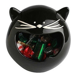Black Cat Treat Bowl - This is one black cat you wouldn't mind crossing your path — or maybe you would. Stash all of your favorite mini candy bars and other Halloween treats in this black cat candy bowl.