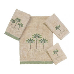 Avanti Linens - Premier Palm Beach 4 Piece Cotton Towel Set by Avanti Linens - Embellished with three embroidered palm trees and elegant scrolls, these towels will add a beautiful and elegant addition to your bathroom decor. Towels are accented with a coordinating fabric whip-stitched band. The color of the towels is off-white.