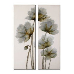 Uttermost - Uttermost Floral Glow 60x20 Canvas Art I, II (Set of 2) - This frameless, hand painted oil is on canvas and is stretched and attached to wood stretching bars. Due to the handcrafted nature of this artwork, each piece may have subtle differences.