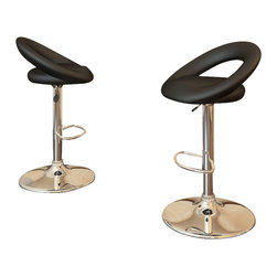 Sonax - Sonax CorLiving Round Back Bar Stool in Black Leatherette (Set of 2) - Sonax - Bar Stools - B507UPD - Add spice to any bar or kitchen island with the Bar Stool featuring a comfortable foam padded round form seat with a curved backrest finished in Black soft leatherette upholstery. Complete with a chrome gas lift and base this contemporary design will accent any decor setting while offering the option to adjust to variable bar heights with ease. A great addition to any home!