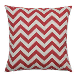 Look Here Jane, LLC - Chevron Pewter Red Pillow Cover - PILLOW COVER