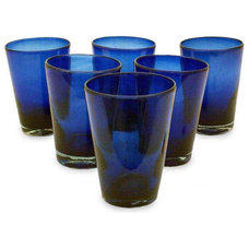 Eclectic Everyday Glassware Hand-blown Glass 'Cobalt Angles' Drinking Glasses