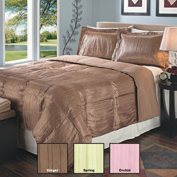 None - Pleated Satin Down Alternative 3-piece Comforter and Sham Set - This comfortable down alternative comforter and sham set will provide a soft and wonderful place to get a good nights rest. It is made of satin and filled with polyester. As an added benefit,it is hypoallergenic,so it works well with sensitive skins.