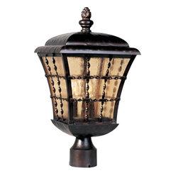 Joshua Marshal - Three Light Oil Rubbed Bronze Amber Seedy Glass Post Light - Three Light Oil Rubbed Bronze Amber Seedy Glass Post Light