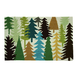 Homefires - Woodland Trees Rug - If you're a tree hugger or just love the woodsy feel, this rug is right up your alley. Fresh, simple pine tree shapes of varied colors, jump from the machine-washable accent rug. Add some pine-scented potpourri and your festive forest theme will be happening.