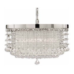 Uttermost - Uttermost Fascination 1 Tier Chandelier in Chrome Plated - Shown in picture: Chrome Plated Rim Adorned By Various Styles Of Crystal Accents. The classic appeal of crystal is updated for today�s sophisticated tastes. Chrome plated rim adorned by various styles of crystal accents.