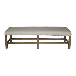 Sweden Bench - Grey Wash - With its clean lines and versatile style, the Sweden Bench is the ideal place to sit to pull on your favorite pair of autumn boots or to buckle your favorite heels. It�s equally at home in your library, waiting to share the latest murder mystery or that classic Gothic novel you�ve been meaning to reread. The smooth upholstered top of the bench is detailed with crisp piping at the top edges and classic metal upholstery tacks along the lower edge, drawing the gaze to its sturdy linear foundations.