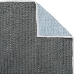 Serena & Lily - Slate/Bay Blue Cabin Quilt - The best of the basics, this all-cotton quilt is the perfect layer for warmer weather. The colors are great, and the running contrast stitch adds just the right amount of texture. Slate on one side, bay blue on the reverse, with white binding and white contrast stitch.