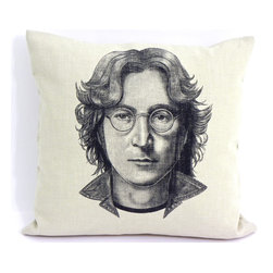reStyled by Valerie - John Lennon Accent Pillow Cover, Cushion Cover - All you need is love ... and a few accent pillows to really pull a room together. Featuring an image of the soulful Beatle, John Lennon, this pillow cover is hand cut from a linen/rayon blend. Featuring a zippered bottom for easy removal, it's individually screen printed and made in the USA.