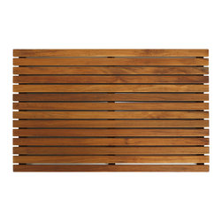 "Bare Decor - Zen Shower Mat in Solid Teak Wood - Escape from the ordinary with this borderless Zen teak mat. It will bring the feel of a tranquil spa right into your home. Made of responsibly harvested solid teak wood (tectona grandis), it is naturally resistant to mold and mildew. This teak mat by Bare Decor will last you a long time saving you money and the environment. This Zen teak floor mat is made of premium solid teak wood and comes in an oiled finish. Perfect for any space outside your sauna, pool, spa, shower, bathroom, deck, boat or RV and will keep your feet warm while providing a clean slip resistant surface. Dimensions: 31.5""W x 19.5""L x 1.5""H"