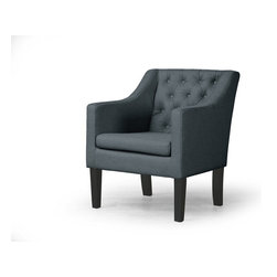 """Baxton Studio - Baxton Studio Brittany Club Chair - """"Go ahead, it's OK to sit down,"""" you'll say to guests again and again. Our contemporary Brittany Club Chair expresses elegance. You couldn't ask for more in a discount- furniture item: modern-styled, black-stained solid straight wood legs contrast spectacularly with tufted-detailed gray linen upholstery."""