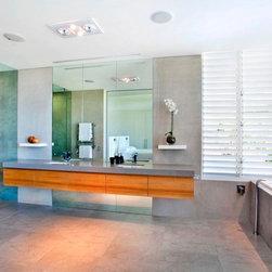 Frameless Shower Door - Framelesss shower enclosure with large vanity mirror
