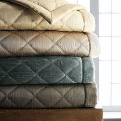 """Ann Gish - Queen Big Diamond Coverlet 96"""" x 98"""" - CREAM (CRM/GOLD) - Ann GishQueen Big Diamond Coverlet 96"""" x 98""""DetailsMade of silk.Machine wash.Imported. Designer About Ann Gish:New York-based Ann Gish a former interior designer who has lived in Southern California France England and Barbados introduced her signature line of bed linens in 1992. The Ann Gish bedding collection is known for exquisite detailing and construction along with luxurious fabrics such as silk."""