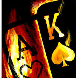 Flaming Ace King Big Slick Poker Art Painting (Original) by Teo Alfonso - Over the years, I created the Flaming Series Poker Art. This is one of the most popular, next to the Flaming Aces and Flaming Kings. High-grade acrylics on gallery-stretched canvas. Great for your game room. Will also make a great gift.