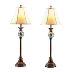 "Nouveau Buffet Lamp, Set of 2 - The Noveau Buffet Lamp is designed with the traditional symbol of ""welcome,"" the pineapple, built right into its design.  This design makes the Nouveau lamp and ideal lamp for the dining room where you'll entertain or for an entry where you'll welcome friends and family to your home."