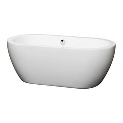 """Wyndham Collection - Soho 60"""" Freestanding White Bathtub, Polished Chrome Drain and Overflow Trim - The Soho Soaking Tub is understatement and elegance in purest form. Organic shapes, simple lines and attractive symmetry showcase the modern design ethic, yet somehow impart a feeling of warmth and luxury. Built to last and always warm to the touch, these beautiful Bathtubs are a perfect place to melt away tension and stress, leaving you refreshed, recharged and renewed."""