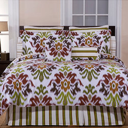 None - Montgomery Cotton 2-Piece Twin Duvet Cover Set - Enjoy this 'Montgomery' duvet cover set featuring a bright, modern floral design of red, rust, and sage printed on a white backdrop. Made of 100-percent cotton, this duvet cover set is as soft as it is fun.