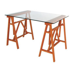 Wooden Desk and Chair - This desk is crafted of solid beechwood and glass and is supported by 2 horizontal trestles that allow you to adjust the height of the surface.