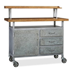 Barkley Wood and Metal Entertaining Console - If you want a vintage look, this console table has an edgy, industrial look. I like its enclosed storage, which many kitchen carts and islands don't offer.