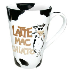"Konitz - Set of 4 Mugs Mr. Latte Mac Chiato - A mug with a serious sense of humor! Loveable cow character wear sunglasses and sips on a whipped-cream-topped Caramel Macchiato. Black-and-white cowhide print with the words ""Latte Mac Chiato."""