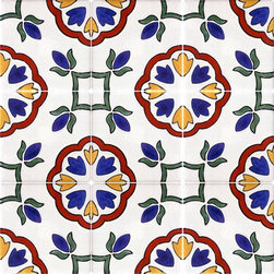 Mexican Talavera Tile 'Loyola' - Discover our stunning hand painted decorative Talavera tiles. Hand crafted to produce both vivacious and subtle Talavera tile designs that adorn terraces, stairwells, kitchen surrounds and bathroom borders. Enjoy the freedom of combining tiles and creating your own unique tile design.