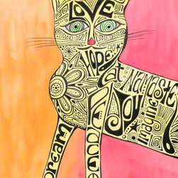 """Groovy Gal Designs Online - Inspiration Cat Watercolor and Ink Artwork - Based on the iconic poster hanging above Marcia Brady's bed on The Brady Bunch, my take on this groovy inspiration cat includes words to live by done in tattoo/doodle style: love, hope, peace, joy, dream, imagine, namaste.  Done in watercolors and ink, it measures 22"""" x 30"""" and comes unframed."""