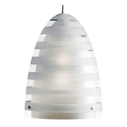 Louis Poulsen - Campbell Pendant Lamp Model 275: 14.6 x 10.8 in, by Louis Poulsen - Treat yourself to the softness, depth and glorious beauty of natural light — inside your home. Separate layers of frosted striped glass, direct and diffuse at once, make it possible. The fact that this pendant is also a stellar example of Scandinavian design? Call that a bonus.