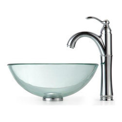Kraus - Clear 14 in. Glass Vessel Sink and Rivera Faucet (Chrome) - Finish: Chrome