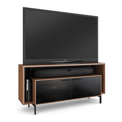 Cavo Home Theater Cabinet - The innovative design of CAVO creates a low-profile silhouette that hugs the wall while providing the perfect home for a flat panel TV and a soundbar speaker. The brilliant combination of this striking cabinet and a soundbar will transform any home theater experience within a compact footprint. The open soundbar platform allows for full sound dispersion and the enclosed areas keep components protected and out of sight.