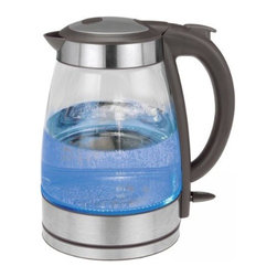 Kalorik - Kalorik Black and Stainless Steel Glass Water Kettle - A fast-boiling kettle with an elegant glass design is a welcome addition to any kitchen. Boil up to 1.7 liters of water for coffee, tea, pastas, and more with the Kalorik Cordless Glass Kettle. With the convenience of a cordless jug you can safely boil water in your kitchen and then transport it to any room in your home. This unit features a high quality Strip controller with multiple safety features, including auto shut-off and boil dry protection. With the bright blue LED illumination inside the kettle this will seem more like a decoration than an appliance. So stop wasting all that electricity heating pot after pot of water on the stove! Get boiling hot water within minutes with the Kalorik Cordless Glass Kettle.