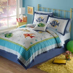 Pem America Colorful Sea Quilt Set - Bright friendly fish are ready to take your explorer on an ocean adventure on the Pem America Colorful Sea Quilt Set. This fun set is made from durable 100% cotton fabric with 100% cotton fiber fill and is pre-washed so it's extra-soft. It's also machine washable for easy headache-free care.Quilt Set Components:Twin: Quilt 1 pillow shamFull/Queen:Quilt 2 pillow shamsDimensions:Twin Quilt: 86L x 68W inchesFull/Queen Quilt: 86L x 86W inchesPillow Shams: 26L x 20W inchesAbout Pem AmericaMakers of high quality handcrafted textiles Pem America Outlet specializes in bedding that enhances your comfort and emphasizes the importance of a good night's rest. Quilts comforters pillows and other items for the bedroom are made with care and craftsmanship by Pem America. Their products cover a wide range of materials styles colors and designs all made with long-lasting quality construction and soft long-wearing materials. Details like fine stitching embroidery and crochet decorations and reinforced seaming make Pem America bedding comfortable and just right for you and your family.