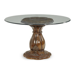 Lavelle Melange 54 in. Round Glass Top Dining Table