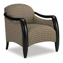 Sam Moore Picasso Exposed Wood Chair - Cocoa - The Sam Moore Picasso Exposed Wood Chair - Cocoa is a functional work of modern art. This lounge chair has a tight seat and back with sleekly shaped, exposed wood arms that slope from the back to form the front legs. Its dark finish and handsomely patterned fabric upholstery makes sure it looks good anywhere.About Sam MooreSince 1940, Sam Moore's hand-crafted upholstered furniture has offered extraordinary quality, comfort, and style. This Bedford, Virginia-based company proudly crafts its products right here in the USA. From classic to transitional to contemporary styles, Sam Moore takes time with every detail, making sure each piece is something you'll appreciate in your home.