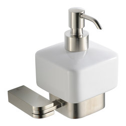 """Fresca - Fresca Solido Lotion Dispenser (Wall Mount) - Brushed Nickel - Dimensions:  5""""W x 4.25""""D x 5.5""""H. Heavy Duty Brass with Triple Brushed Nickel Finish.   All of our Fresca bathroom accessories are made with brass with a triple brushed nickel finish and have been chosen to compliment our other line of products including our vanities, faucets, shower panels and toilets.  They are imported and selected for their modern, cutting edge designs."""