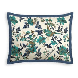 Aqua Floral Bird Custom Sham - Stay classy, America!  Add a few Tailored Shams with crisp solid edging to create a bedset with the perfect mix of contemporary style and classic elegance. We love it in this stunning hand blockprinted chinoiserie-esque floral and bird motif in blue and turquoise with shimmery hints of gold.
