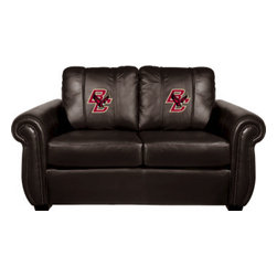 Dreamseat Inc. - Boston College NCAA Chesapeake Black Leather Loveseat - Check out this Awesome Loveseat. It's the ultimate in traditional styled home leather furniture, and it's one of the coolest things we've ever seen. This is unbelievably comfortable - once you're in it, you won't want to get up. Features a zip-in-zip-out logo panel embroidered with 70,000 stitches. Converts from a solid color to custom-logo furniture in seconds - perfect for a shared or multi-purpose room. Root for several teams? Simply swap the panels out when the seasons change. This is a true statement piece that is perfect for your Man Cave, Game Room, basement or garage.