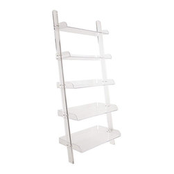 Acrylic Leaning Bookshelf - I think this bookshelf would look great filled with blue and white porcelain. It allows you to showcase your items — not your bookshelves.