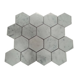 "Tiles R Us - Carrara Marble Polished 3 Inch 3x3 Hexagon Mosaic Tile, Box of 5 Sheets - Premium Italian Carrara White Marble Polished 3"" Hexagon Mosaic Tile"