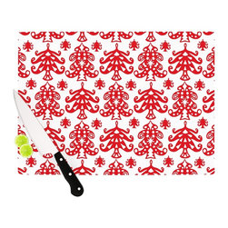 """Kess InHouse - Miranda Mol """"Ornate Trees White"""" Red Holiday Cutting Board (11"""" x 7.5"""") - These sturdy tempered glass cutting boards will make everything you chop look like a Dutch painting. Perfect the art of cooking with your KESS InHouse unique art cutting board. Go for patterns or painted, either way this non-skid, dishwasher safe cutting board is perfect for preparing any artistic dinner or serving. Cut, chop, serve or frame, all of these unique cutting boards are gorgeous."""