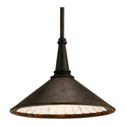 Kathy Kuo Home - Rustic Industrial Manuscript Black Smoke Hanging Pendant - This single-light pendant takes the form of a classic industrial pendant lighting fixture. Antiqued mirror glass  has been fitted piece by piece inside the shade to make an updated elegant reflector while a black smoke finish delivers a sophisticated industrial mood.