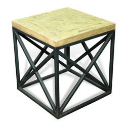 Interlude Home - Interlude Home Longmire Parque End Table - This sturdy cubic side table features an inlay top with a light weathered honey finish.
